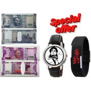 Combo of Graphic Stylish Black Strap Round Dial Watch With Black Digital Led Watch And New 500 1000 Note Wallet