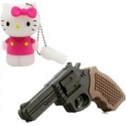 Green Tree Gun Shaped Fancy Pendrive 16 gb + Hello Kitty Fancy 16 GB Pen Drive(Brown, Pink)