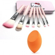 BELLA HARARO Makeup brush set of 7 with storage box and beauty blender Sponge (Combo of 2)