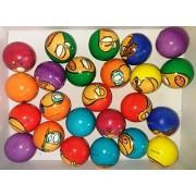 24 Pcs SET OF PRINTED SOFT SPONGE SMALL TOY BALLS SQUEEZE BALL ANTISTRESS BALLS