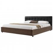 MyBed Cama tapizada acolchada 140x200cm negro/marrón cuero sintético - Algar de Mesa