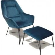 RGE Fotel Adele z podnóżkiem niebieski aksamit