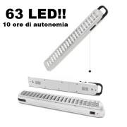 Luce/Torcia/Lampada d'emergenza ultraluminosa ricaricabile 63 LED