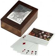 RoyaltyLane Wood Playing Card Box Vintage Cards Deck Holder Inlaid Art Wooden Antique Carved Trinket- 4.5 INCH