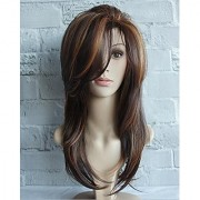 Sellers Destination Long Layered Straight Human Hair Wig for Women (size 24 Black Brown)