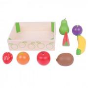 Cutiuta cu fructe din lemn, 8 fructe, 18 x 14.5 x 5 cm