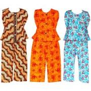Wajbee Resplendent Girls Cotton Night Suit Set of 3