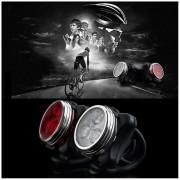 ER Para Bicicleta 3 LED De 4 Modos De Cola De La Cabeza Del Frente Lámpara De Luz Trasera Recargable USB (Blanco).