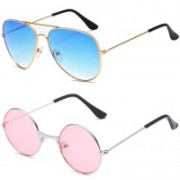 SRPM Aviator, Round Sunglasses(Blue, Pink)