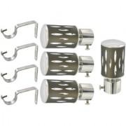 Hans Enterprise Mendi Set of 4 Stainless Steel Single Curtain Rod Bracket pack of 8