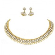 Golden White Double Stone Jhumka Necklace set
