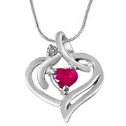 Surat Diamond Heart's Desire Real Diamond Red Ruby & 925 Silver Pendant with 18 Chain SDP277