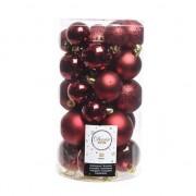 Decoris 30x Donkerrode kerstballen 4 - 5 - 6 cm kunststof - Kerstbal