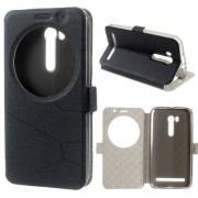 Notesz tok / flip tok - FEKETE - asztali tartó funkciós, oldalra nyíló ablakos flip cover, rejtett mágneses záródás, szilikon belső - ASUS ZenFone Go (ZB551KL)