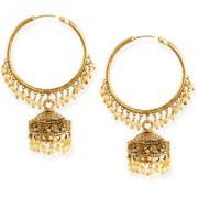 Zaveri Pearls Gold-Toned Ethnic Chandbali With Jhumki & Pearl Drops Earring-ZPFK6627