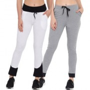 Cliths Track Pants for Women  Solid White Black Grey Black Slim Fit Yoga Pants for Women/Girls-Pack Of 2