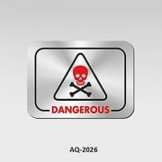REBUY Stainless Steel Dangerous Signboard for Doors of Hospital Clinic School Office Hotel Restaurant Self Adhesive Am