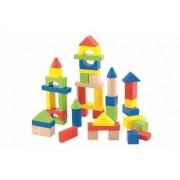 Set de constructie Trefl cuburi de lemn in cutie 50 buc Multicolor + Joc de Carti Domino Cadou