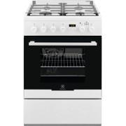 Aragaz Electrolux EKK64982OW, mixta, 60 cm, 4 arzatoare, gratare fonta, display, alb