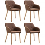 vidaXL Dining Chairs 4 pcs Brown Fabric and Solid Oak Wood