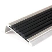 Černá hliníková schodová hrana s protiskluzovým páskem Antislip, FLOMAT - délka 100 cm, šířka 5,3 cm a výška 2 cm