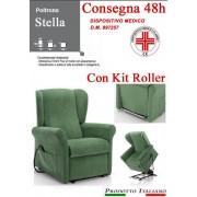 Il Benessere Poltrona Relax Stella completa di Alzapersona e Kit Roller 2 Motori Tessuto Lavabile Colore Verde Bottiglia Classico Sfoderabile Consegna 48 Ore