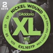 D'Addario 4 cuerdas para bajo XL 45-105 set de 2 045-065-085-105, EXL165TP