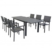 Milani Home DEXTER - set tavolo da giardino allungabile in alluminio 160/240 x 90 compreso di 6 poltrone in alluminio e textilene