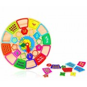 Homies International 1 Unit Round Wooden Blocks geometrical Shape & color match & Number Sorting & counting Clock - Wooden Puzzle & counting toy Educational learning Toys for Kids and Toddlers, Children Puzzle Education Toy (25 Pieces)
