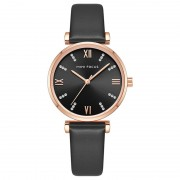 MINI FOCUS Fashion Casual Ladies Watches Crystal Dial Quartz Watch Women Leather Strap Wristwatch - Black / Rose Gold