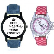 Super Power Of Positive Thinking Round Dial And Pink Flowers Leather Strap Analogue Watch By Vivah Mart