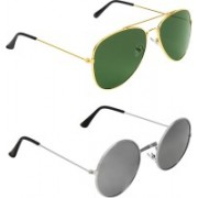 Abner Aviator, Round Sunglasses(Green, Silver)