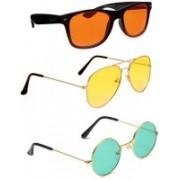 Elligator Wayfarer, Round, Aviator Sunglasses(Orange, Yellow, Green)
