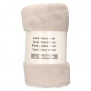 Merkloos Lichtgrijze warme fleece dekens 150 x 200 cm