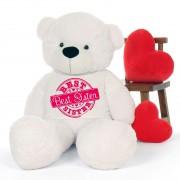 5 feet big white teddy bear wearing special Best Sister T-shirt