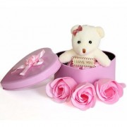 SC MSG Heart Shaped Box with Teddy and Roses Flower with Rose Small (Royal Mint Pink) with I Love You Message on it
