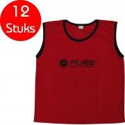 Pure2Improve - 12 stuks - voetbal hesjes - rood - maat junior - trainings hesjes - voetbal hesje - trainingshesjes