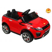 BAYBEE Range Rover Battery Operated Car with Dual Battery, Dual Motor and Pull along Trolley (Red)