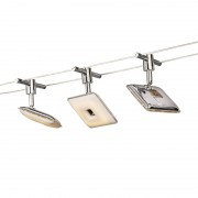 QAZQA Modern Cable with Square Spotlights Chrome incl. LED - Tubos 3