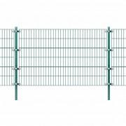 vidaXL zöld vas kerítéspanel oszlopokkal 6 x 1,2 m