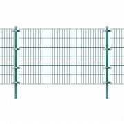 vidaXL Fence Panel with Posts Green Iron 6x1.2 m