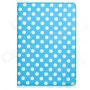 Stylish Polka Dot Pattern 360 'Rotacion Funda de cuero PU Funda para Ipad AIR-cielo azul + blanco