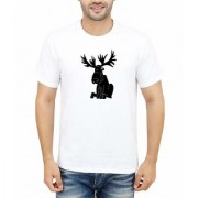DOUBLE F ROUND NECK HALF SLEEVE WHITE COLOR BIG ANIMAL PRINTED T-SHIRTS