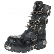 stivali in pelle - Chain Boots (727-S1) Black - NEW ROCK - M.727-S1