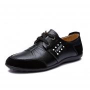 Zapatos De Ecocuero De Ocio Colegio Viento Para Hombre - Negro