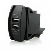 Nuevo LED Impermeable 3.1A Motocicleta Coche Cargador USB Dual Socket Puerto LED Rojo