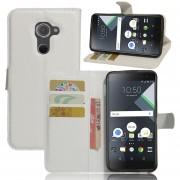 Premium PU Leather Wallet Case con bolsillos para la identificación, tarjetas de crédito para BlackBerry DTEK60 -Blanco