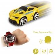 2.4GHz Mini Rc Coche De Control Remoto De Comando De Voz Auto Smart Watch Sports Car Toy (Amarillo)