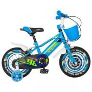 """Bicicleta Copii Rich Baby R1207A, Roti 12"""", C-Brake, cosulet, roti ajutatoare cu LED (Verde/Albastru)"""
