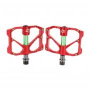 Pedales PlateadoFORMA De Aleación De Aluminio CNC De Eje De Acero De 9/16 Pulgadas Para MTB Bicicleta BMX, Paquete De 2 (Rojo)